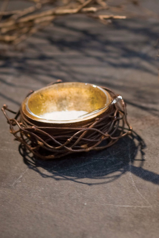 Small Gold Leafed Metal Birds Nest