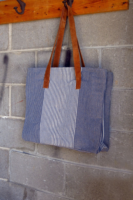 Pinstriped Cotton Tote Bag with Mock Leather Straps