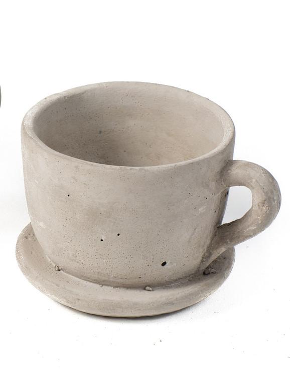 Large Cement Teacup Planter