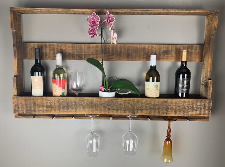 Wooden Wine Shelf with Glass Rack