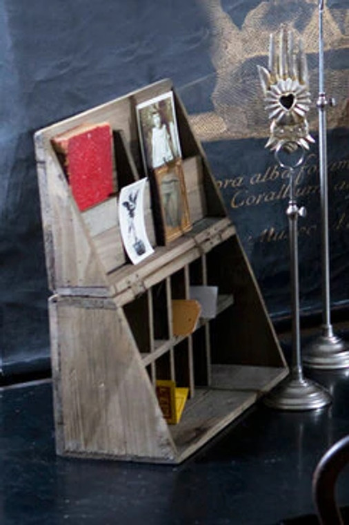 Rustice Recycled Pine Folding Campaign Desk Organizer
