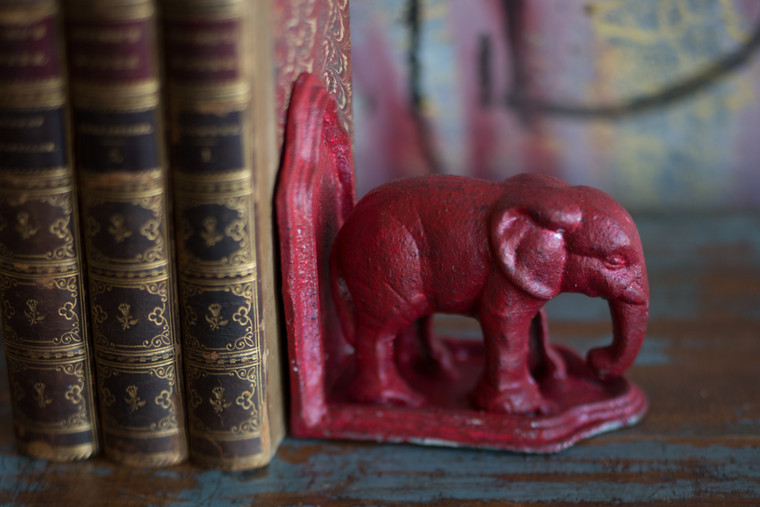 Cast Iron Elephant Bookend in Antiqued Red Finish