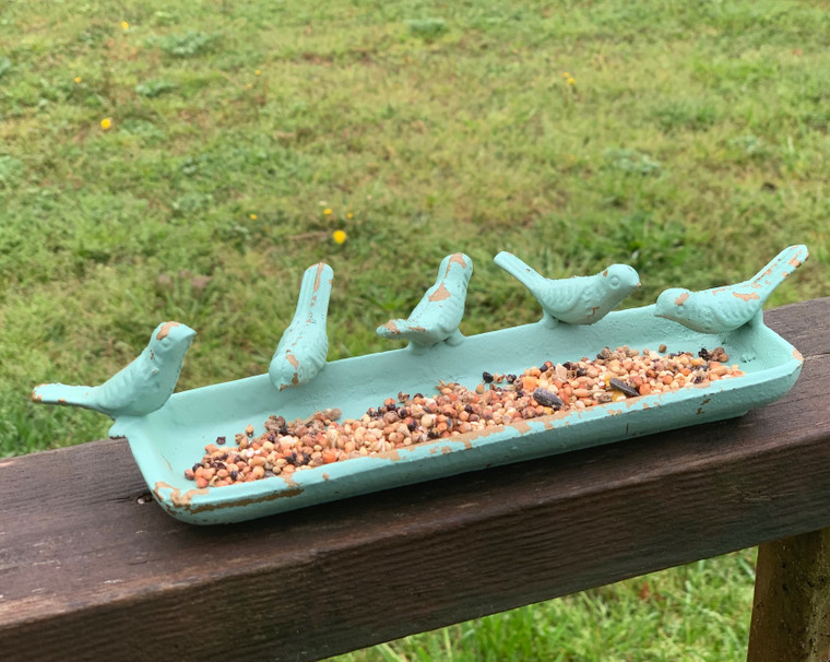 Cast Iron Bird Tray In Antiqued Green, Blue & Gold Finish
