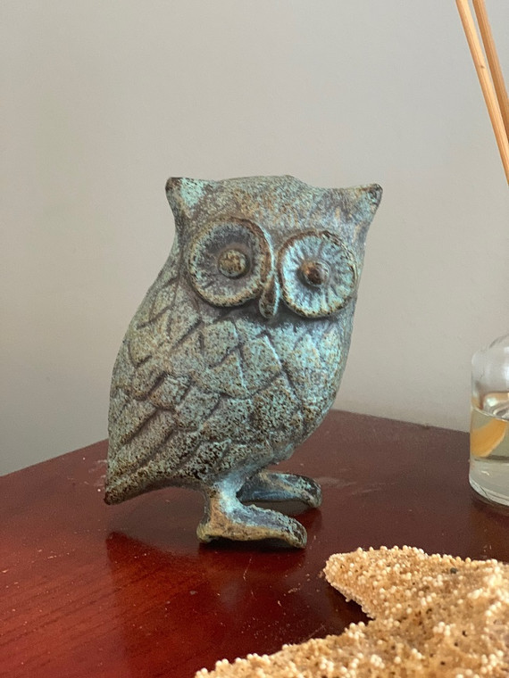 Cast Iron Owl in Antique Green, Blue Rustic Finish