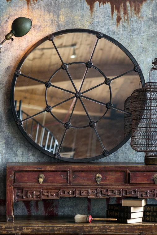 Cast Iron Round Mirror