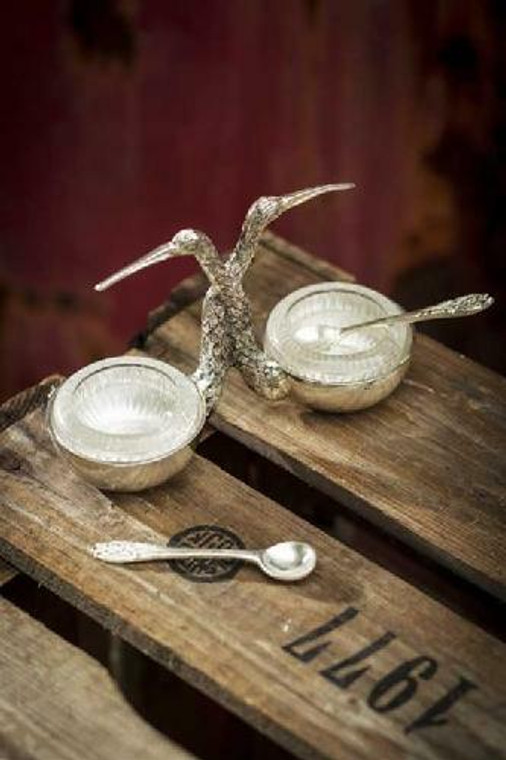 Stork Salt and Pepper with Glass Inserts and Silver Spoon