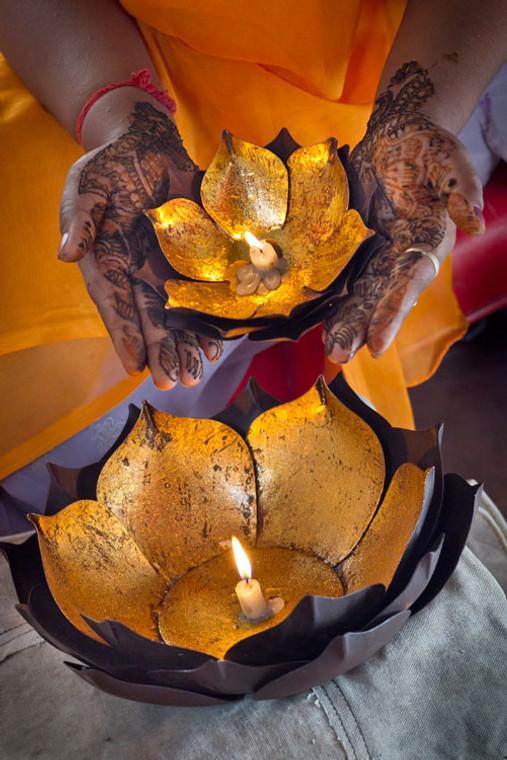 Gold Leafed Metal Lotus Bowls