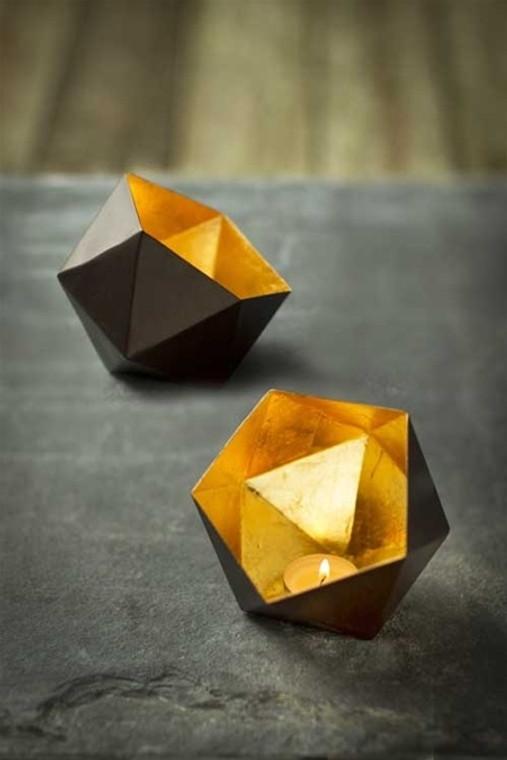 Metallic Geometric Votive with Inner Gold Leafing