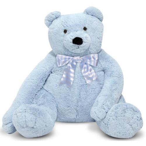 """Jumbo Blue Teddy Bear - 30"""" High, Sitting Plush Bear by Melissa & Doug"""