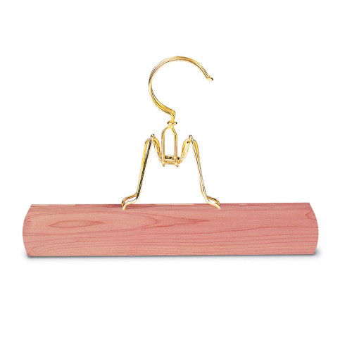 Woodlore Cedar Pant Hanger shown with brass-plated hardware