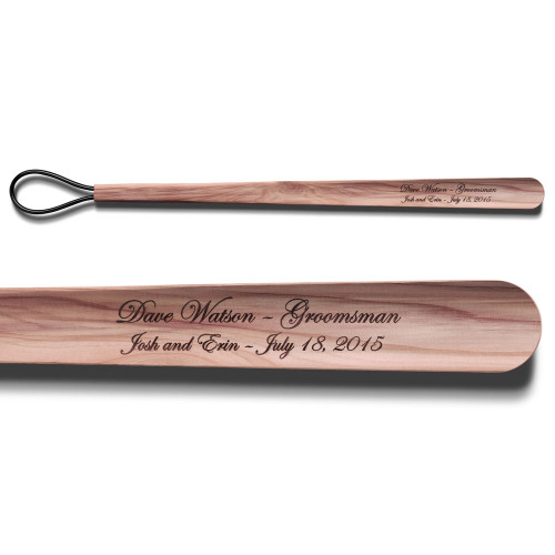 Long Cedar Shoe Horn with Wedding Engraving
