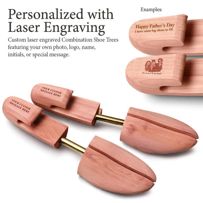 Personalized Laser Engraved Men's Combination Cedar Shoe Tree (pair)