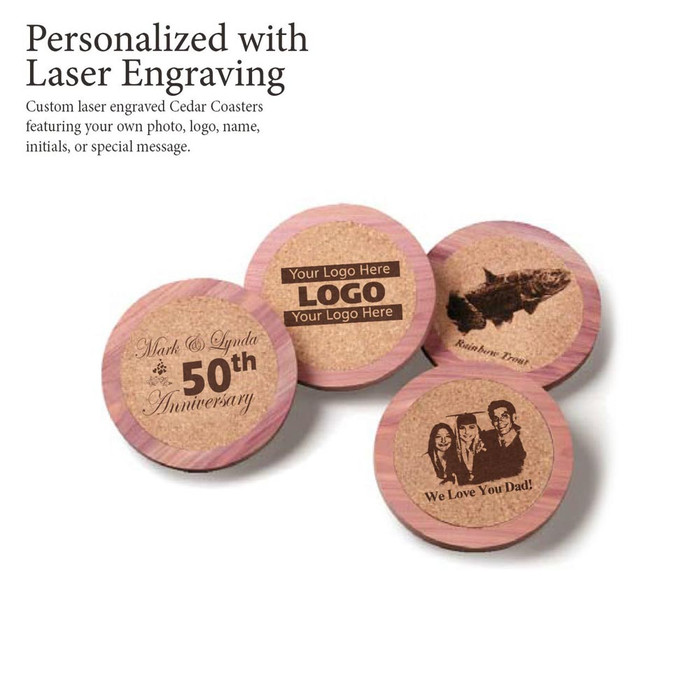 Personalized Laser Engraved Cedar & Cork Drink Coasters by Woodlore