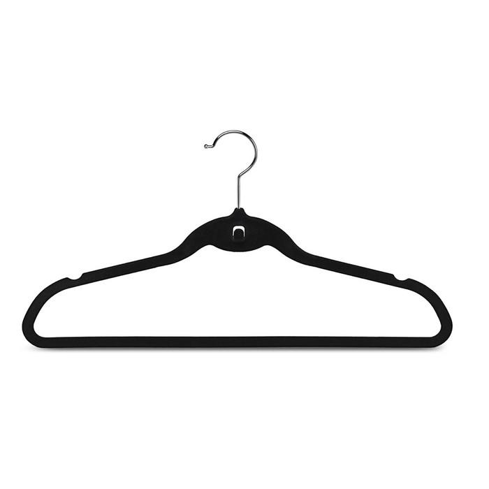 Slim Non-Slip Velvet Hangers - Beige or Black (Box of 26)