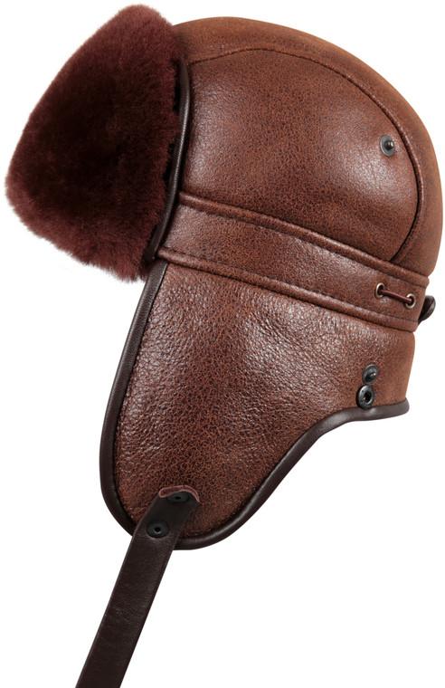 Shearling Sheepskin Biker Trapper Winter Fur Hat - Brick