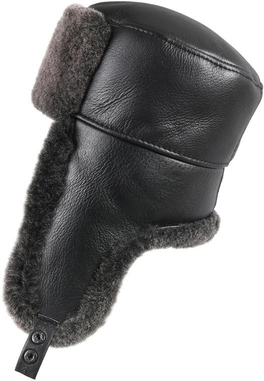 Shearling Sheepskin Russian Ushanka Winter Fur Hat - Black