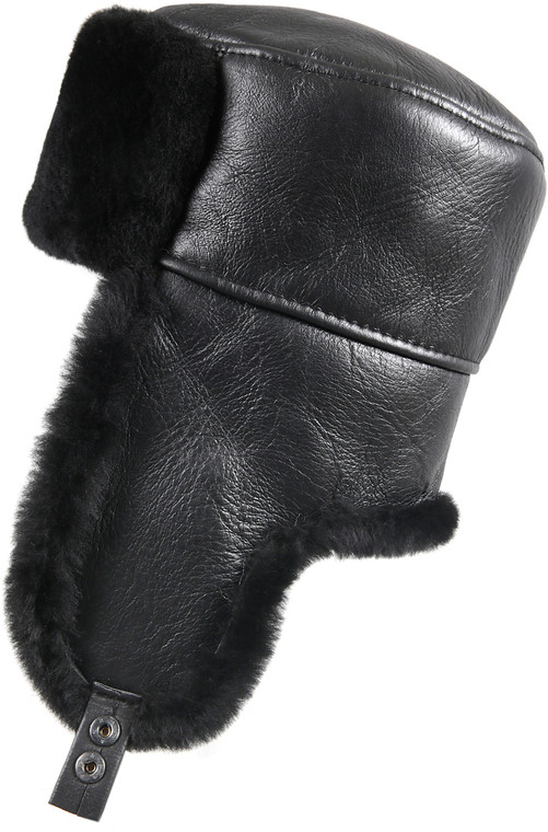 Shearling Sheepskin Russian Ushanka Fur Hat - Solid Black