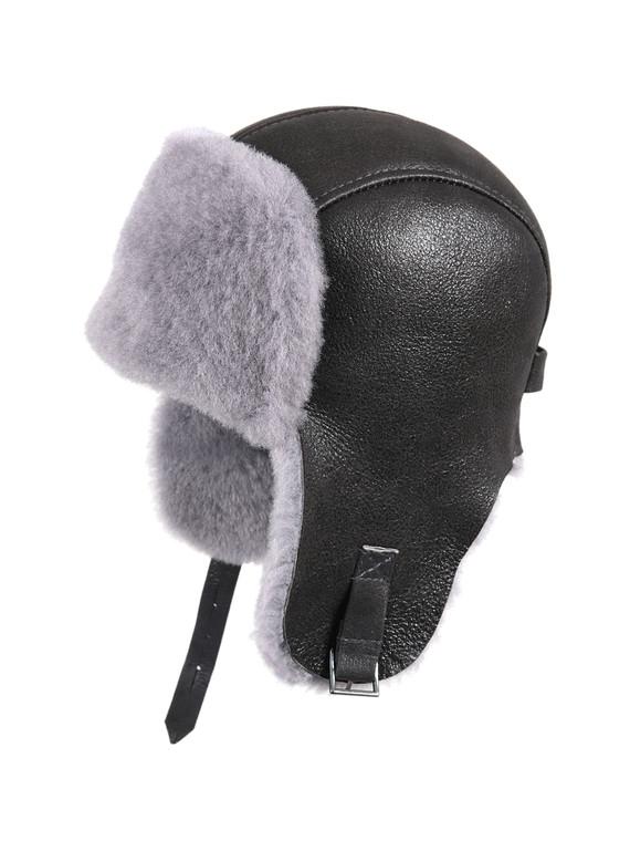 Shearling Sheepskin Pilot Winter Fur Hat - Antrasit