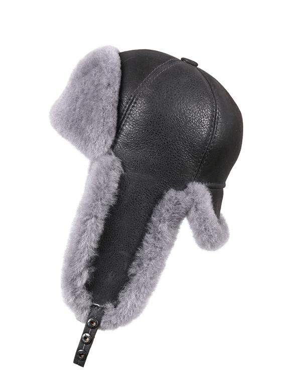 Shearling Sheepskin 6 Panel Ushanka Fur Hat - Antrasit