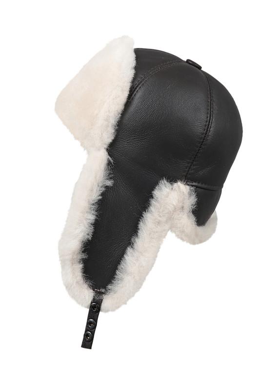 Shearling Sheepskin 6 Panel Ushanka Fur Hat - Brown/Beige