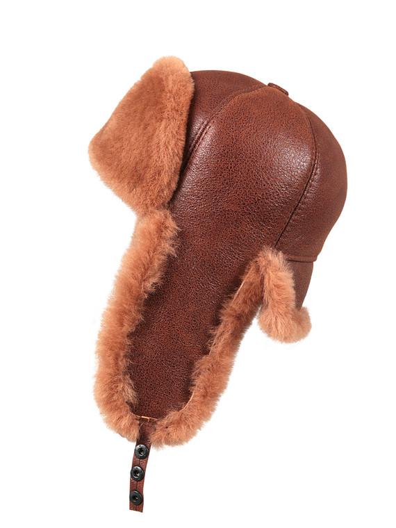 Shearling Sheepskin 6 Panel Ushanka Fur Hat - Peach Brown