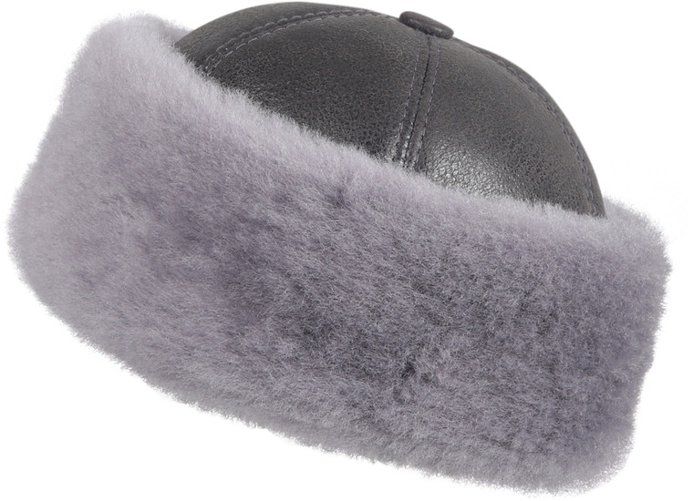 Shearling Sheepskin Bucket Winter Fur Hat - Antrasit