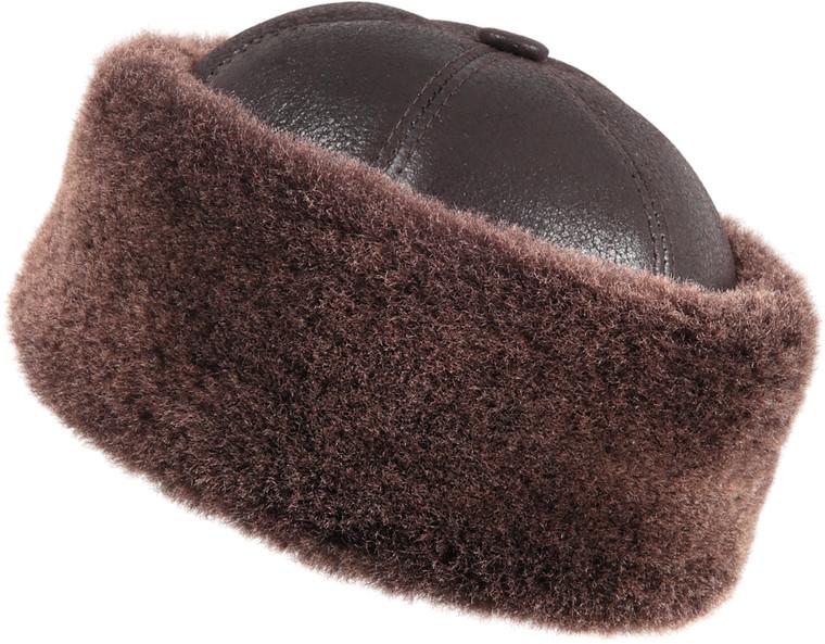 Shearling Sheepskin Bucket Winter Fur Hat - Brown