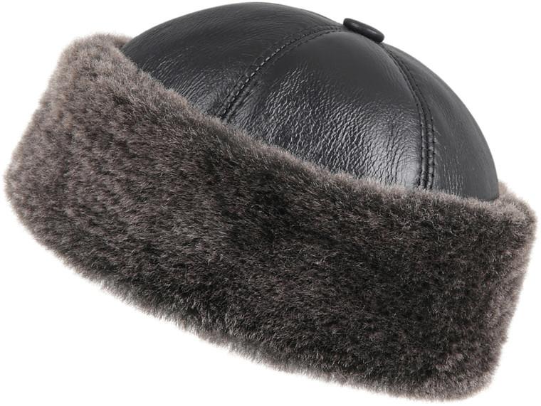 Shearling Sheepskin Bucket Winter Fur Hat - Black