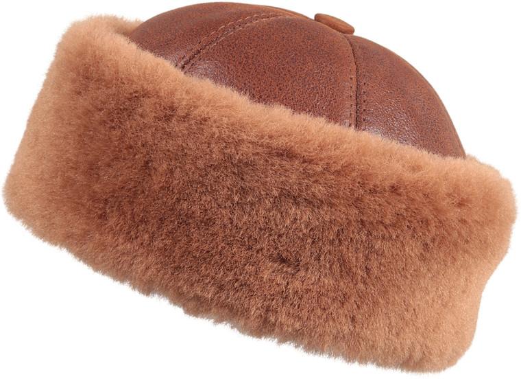 Shearling Sheepskin Bucket Winter Fur Hat - Peach Brown
