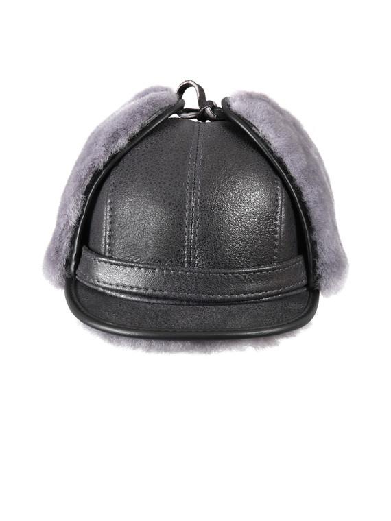 Shearling Sheepskin Visor Winter Fur Hat - Antrasit