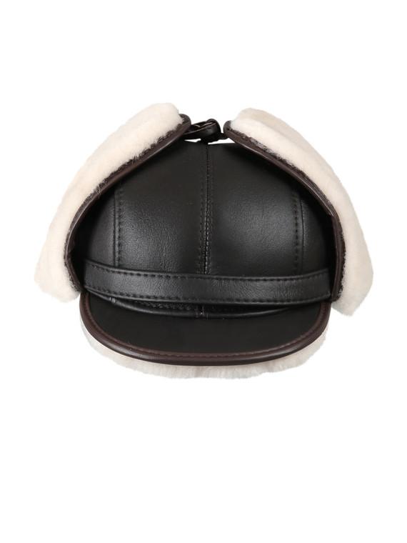 Shearling Sheepskin Visor Winter Fur Hat - Brown/Beige
