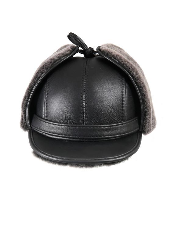 Shearling Sheepskin Visor Winter Fur Hat - Black