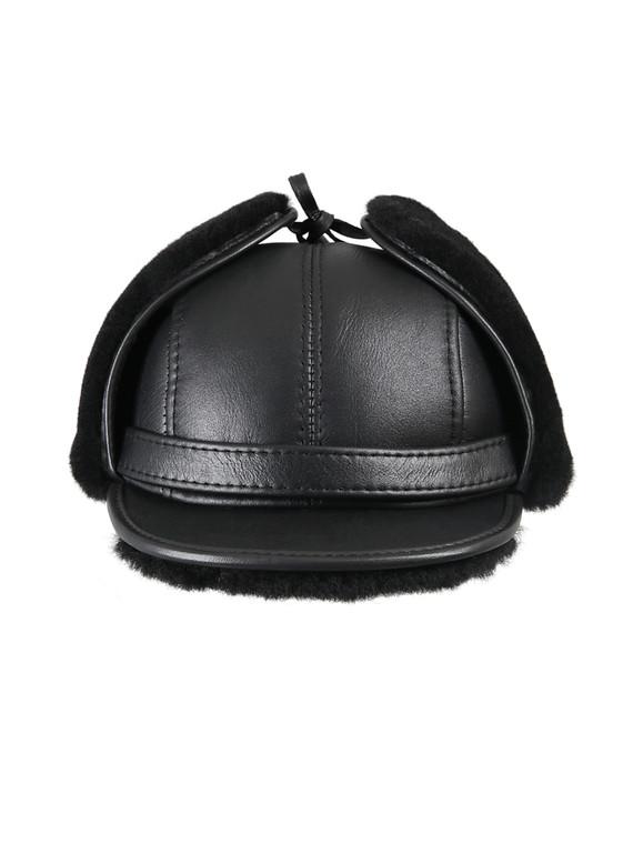 Shearling Sheepskin Visor Winter Fur Hat - Solid Black