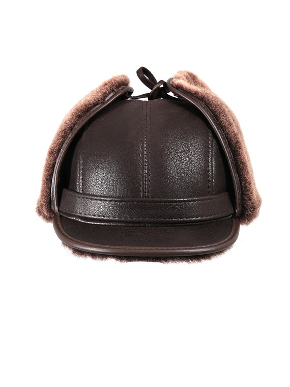 Shearling Sheepskin Visor Winter Fur Hat - Brown
