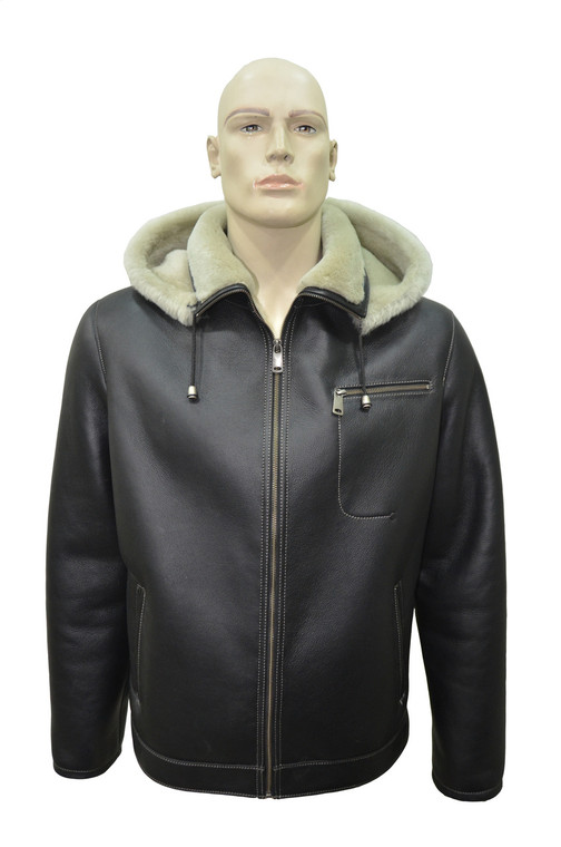 Men's Genuine Shearling Sheepskin Aviator Bomber Hooded Winter Jacket