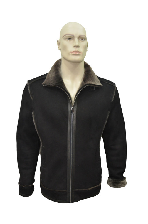 Men's Genuine Shearling Sheepskin Vintage Stylish Winter Jacket - Black