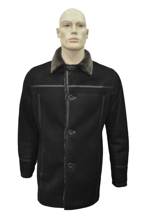 Men's Genuine Shearling Sheepskin Leather Classic Winter Coat - Black