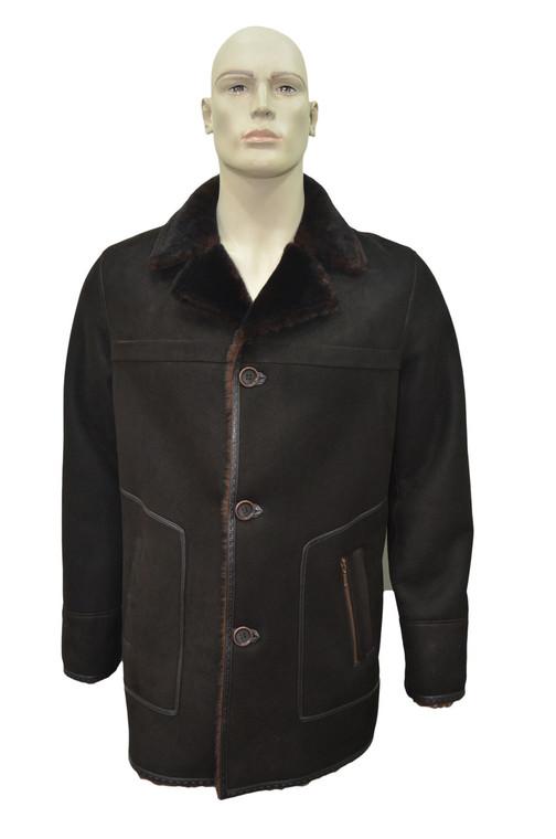 Men's Genuine Shearling Sheepskin Leather Classic Winter Coat - Brown