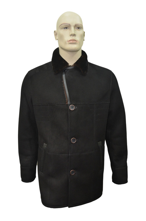 Men's Genuine Shearling Sheepskin and Leather Fur Classic Winter Coat - Black