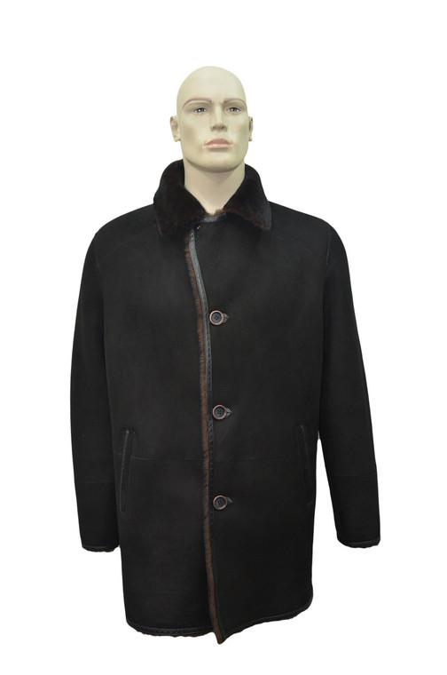 Men's Genuine Shearling Sheepskin and Leather Classic Long Winter Coat - Black