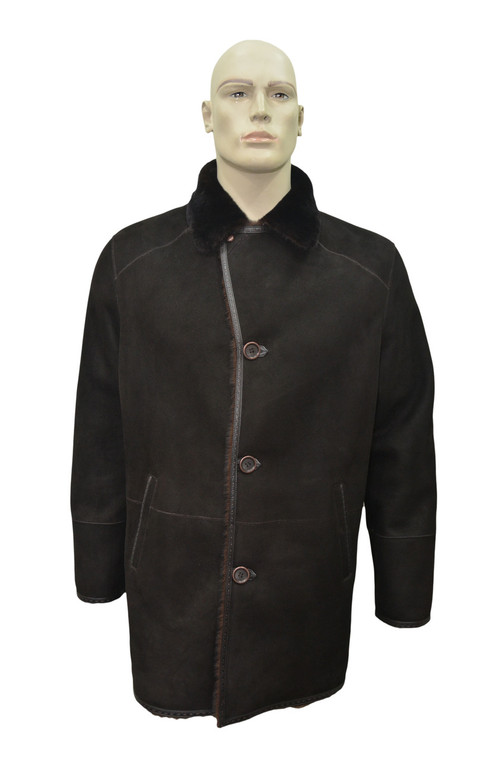 Men's Genuine Shearling Sheepskin and Leather Classic Long Winter Coat - Brown