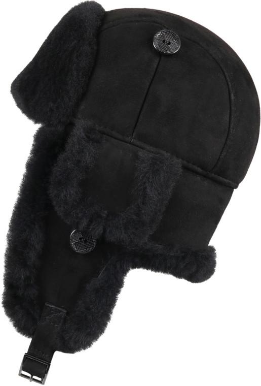 Leather Aviator Sheepskin Hat - Black Suede