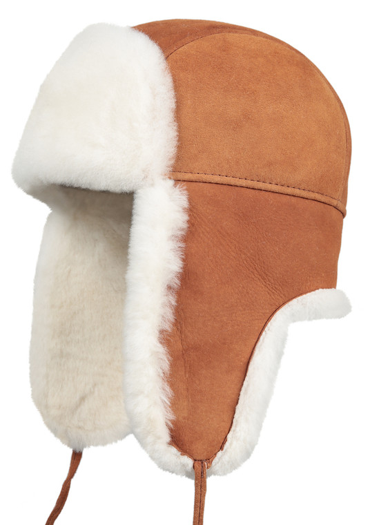 Shearling Sheepskin Aviator Winter Fur Hat - Cognac