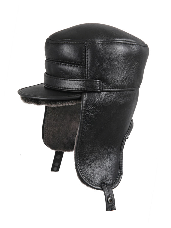 Shearling Sheepskin Visor Elmer Fudd Winter Fur Hat - Black SALE