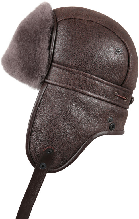 Shearling Sheepskin Biker Trapper Fur Hat - Cashmere