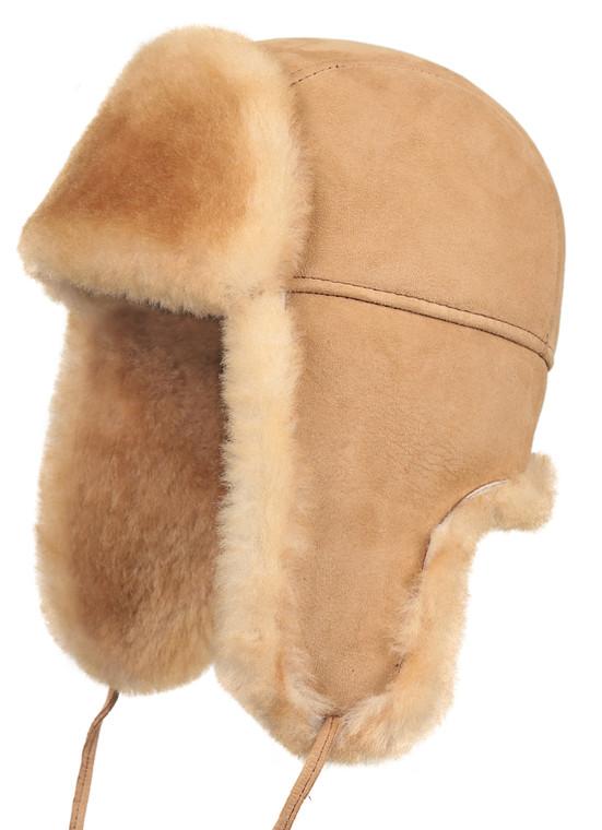 Shearling Sheepskin Aviator Fur Hat - Tan