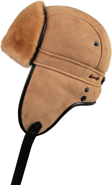 Shearling Sheepskin Biker Trapper Fur Hat-Tan