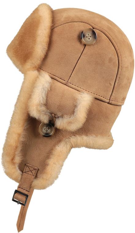 Leather Aviator Sheepskin  Hat - Tan