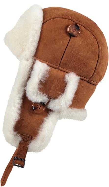 Leather Aviator Sheepskin  Hat - Cognac