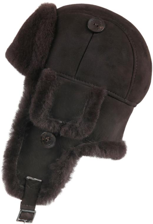 Leather Aviator Sheepskin  Hat - Brown